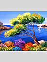 Pictat manual Peisaj Picturi de ulei,Modern / Clasic / Tradițional / Realism / Mediteranean / Pastoral / Stil European Un Panou Canava