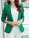 Women\'s Solid One Button Blazer , Casual/Work Peaked Lapel Long Sleeve