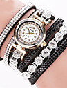 Femme Bracelet de Montre Quartz Strass / Imitation de diamant Cuir Bande Etincelant Noir / Blanc / Argent Marque