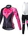 MALCIKLO® Maillot et Cuissard Long a Bretelles de Cyclisme Femme Manches longues VeloRespirable Sechage rapide Zip frontal Vestimentaire