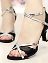 Customizable Women\'s Dance Shoes Satin Latin / Salsa Sandals / Heels Customized Heel Indoor / Performance Silver / Gold