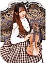 Jupe Doux Lolita Cosplay Vetrements Lolita Cafe Marron A Carreaux Sans manche Moyen Robe Pour Laineux