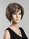 kort naturligt våg människohår peruk för kvinnor