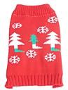Chat / Chien Pull Rouge Vetements pour Chien Hiver / Printemps/Automne Motif de flocon de neige Noel / Nouvel An