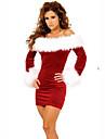 Costumes de pere noel Fete / Celebration Deguisement Halloween Rouge / Blanc Couleur Pleine Robe Noel Terylene