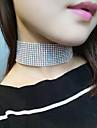 Women Fashion Personality Popular Full Rhinestone Wide Side Choker Crystal Short Necklace (3.8 cm wide) 1pc