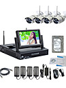 strongshine® trådlös IP-kamera med 960p / IR / vattentät och NVR med 7inch LCD / 2TB övervakning HDD kit