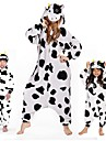 kigurumi Pyjamas Vache laitiere Collant/Combinaison Fete / Celebration Pyjamas Animale Halloween Blanc Motif Animal vison de velours