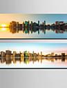 Landskap / Arkitektur Canvastryck Två paneler Redo att hänga , Vertikal