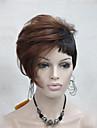 hög kvalitet värme vänlig röd kastanje mix mörkbrun asymmetri kvinnors kort peruk