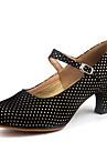 Women's Dance Shoes Velvet Velvet Latin Heels Chunky Heel Outdoor Black / Fuchsia