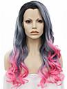 imstyle 24\'\'new arrivee drag queen resistant a la chaleur ombre longue vague rose perruque synthetique gris avant de dentelle noire des