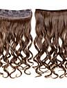 clip in hårförlängningar vågigt klipp på löshår medel brun