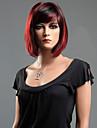 noir rouge mixte droite vague perruque de cheveux de fibre synthetique