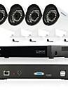 szsinocam® 4ch 720p video recorder 1800tvl vattentät hemsäkerhet övervakningskamera plc kit