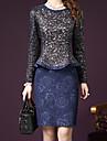 Dame Rotund Set Fustă Costume Ieșire / Plus Size Simplu(ă),Plisat Manșon Lung Toamnă-Albastru / Roșu Mediu Acrilic / Poliester