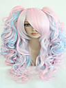 70cm de mode longues bleu mixtes ponytails ondulees rose de haute qualite synthetique lolita cosplay parti perruque