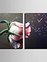 Modern Blommor/Botanik Väggklocka,Rektangulär Kanvas35X50cm(14inchx20inch)x2pcs/ 40 x 60cm(16inchx24inch)x2pcs/ 50 x