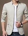 Bărbați Stand Jachetă Zilnice Dată Contemporan,Culoare solidă Manșon Lung Iarnă-Regular N/A