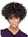Capless korta afro kinky fluffiga syntetiska peruker för kvinnor ombre mörkbrun värmetålig med gratis hårnät