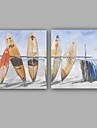 Peint a la main Abstrait / Paysages Abstraits Peintures a l\'huile,Modern / Classique Deux Panneaux Toile Peinture a l\'huile Hang-peintFor