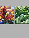 Peint a la main Abstrait / A fleurs/Botanique Peintures a l\'huile,Modern / Classique Deux Panneaux Toile Peinture a l\'huile Hang-peintFor