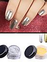 2pcs or argent pigment de poussiere de poudre de miroir chrome magie paillettes aluminium ongles paillettes ongles diy outils de