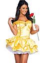 Costumes de Cosplay Bal Masque Costume de Soiree Princesse Conte de Fee Deesse Fete / Celebration Deguisement d\'Halloween Jaune Mosaique