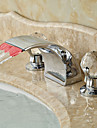 Art Deco/Retro Widespread LED / Waterfall with  Ceramic Valve Two Handles Three Holes for  Chrome , Bathroom Sink Faucet