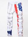 Bărbați Mărime Plus Size Larg / Drept Blugi Pantaloni,Peteci Vintage Imprimeu Casul/Zilnic Talie Medie Fermoar Bumbac / Lână Micro-elastic