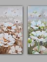 Peint a la main Abstrait / A fleurs/Botanique Peintures a l\'huile,Modern / Realisme Deux Panneaux Toile Peinture a l\'huile Hang-peint For