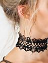 Femme Collier court /Ras-du-cou Tattoo Choker Colliers Declaration Bijoux Forme Ronde Dentelle Tatouage Mode Bijoux de declarationBlanc