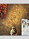 Peint a la main Nature morte / A fleurs/Botanique Peinture a l\'huile + Prints,Modern / Classique Un Panneau ToilePeinture a l\'huile