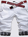 Bărbați Drept Simplu Talie Medie,Micro-elastic Pantaloni Scurți Pantaloni Plisat