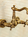 Antique Set de centre Cascade with  Valve en ceramique Deux poignees Deux trous for  Cuivre antique , Robinet lavabo