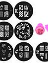 Abstrakt - Finger / Tå - Andra Dekorationer - av Metall - 20st nagel plates+ 1uppsättning nagel stamper and scraper - styck 5.5cm for dia - cm
