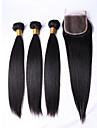 Tissages de cheveux humains Cheveux Bresiliens Droit 12 mois 4 Pieces tissages de cheveux