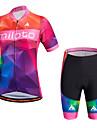 Sportif Maillot et Cuissard de Cyclisme Femme Manches courtes VeloRespirable Sechage rapide Permeabilite a l\'humidite Diminue Irritation