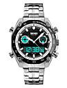 SKMEI Bărbați Ceas Elegant Ceas La Modă Quartz LED Calendar Cronograf Rezistent la Apă Zone Duale de Timp alarmă Cronometru IluminatOțel