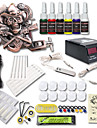 dragonhawk® kit de tatouage 1 soulagement machine de tatouage 6 encres de couleur alimentation definie pour debutant