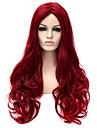 Europa och Förenta staterna mode damer LiU långt lockigt hår peruk peruk röd matt hög temperatur tråd peruk