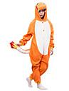 kigurumi Pyjamas Dessin-Anime Collant/Combinaison Fete / Celebration Pyjamas Animale Halloween Orange Couleur Pleine Polaire Pour Enfant