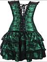 Feminin Corset peste Bust / Rochii cu Corset / Set Corset / Plus Size Pijamale Bumbac / Nailon / Polyester / Spandex Jacquard Verde