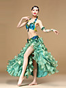 Belly Dance Outfits Women\'s Performance Organza Beading / Crystals/Rhinestones / Ruched / Sequins / Split 3 pieces