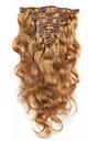7a 100% vierge extensions de cheveux humains clip dans le corps de cheveux remy vague blond fraise pleine tete