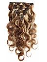 7a 100% vierge extensions de cheveux humains clip dans les cheveux remy vague de corps la pleine tete couleur de melange