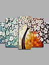 Kanvas Set Ur Canvastryck Abstrakt Blommig/Botanisk Europeisk Stil,Fem paneler Kanvas Horisontell Målning väggdekor For Hem-dekoration