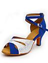 Chaussures de danse(Bleu Argent) -Personnalisables-Talon Personnalise-Cuir Paillette Brillante Synthetique-Latines