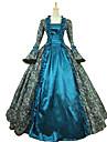 Une Piece/Robes Gothique Lolita Classique/Traditionnelle Retro Elegant Victorien Rococo Princesse Cosplay Vetrements Lolita Cyan Fleur