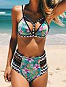 Dame Poliester Cu Susținere,Bikini Talie Înaltă Monocolor Floral Sport Floral